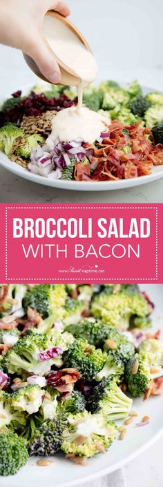 This broccoli salad with bacon is dressed up cranberries, sunflower kernels and a delicious homemade dressing. It is super easy to make and always a crowd pleaser. It's the perfect side dish to bring to any potluck.
