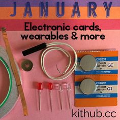 Kit includes:  1 roll of copper foil tape 1 reed switch 1 magnet 2 blinking LEDs 2 LEDs 2 coin batteries 4 pieces of construction paper 1 KitHub trading card Instruction card  Concepts explored: Simple and parallel circuits Circuit design Circuit schematics Switches Magnetism Prototyping