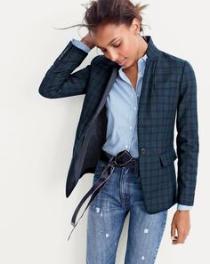 J.Crew women's Regent blazer in Black Watch tartan, stretch perfect shirt in classic stripe and Point Sur Stevie X-Rocker with nicking jean.  Want to know how to do this half-bow? See the step-by-step at jcrew.com/stylehacks.