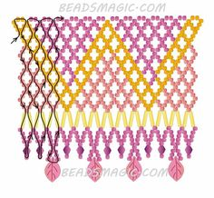 Free pattern for beaded necklace Crystal Leaves U need: seed beads bugles bicones 4 mm leaves beads Beading Patterns Free, Seed Bead Patterns, Beaded Jewelry Patterns, Weaving Patterns, Free Pattern, Seed Bead Tutorials, Beading Tutorials, Collar Indio, Seed Bead Jewelry