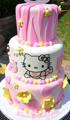 Hello Kitty Baby Shower Cake - too cute! Hello Kitty Baby Shower, Hello Kitty Birthday, Baby Kitty, Cupcakes, Cupcake Cakes, Beautiful Cakes, Amazing Cakes, Cake Pops, Torta Hello Kitty