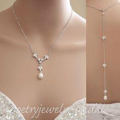 Rücken fallen Braut Halskette Perlen Crystal von poetryjewelry