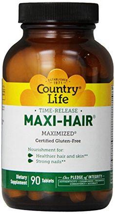 Country Life, Sans Gluten, Maxi-Hair, Time Release, 90 comprimés