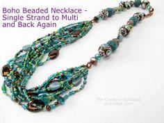 DIY Tutorial -  Boho Beaded Necklace - Single Strand to Multi and Back Again
