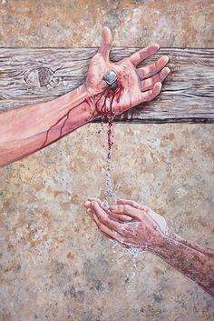 14er Art : Painting - Washed in the Blood : Symbolic Christian artwork by Aaron Spong