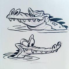 Two crocodilians #brushpen #cartoon #crocodile #alligator #characterdesign…