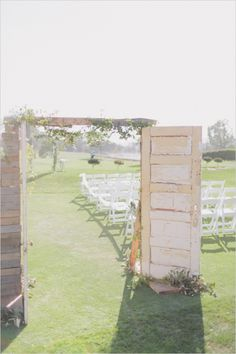 rustic wedding ceremony decor http://www.weddingchicks.com/2013/09/26/light-pink-and-gray-wedding/