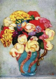 Bouquet in a Turquoise Vase - Louis Valtat - The Athenaeum Small Paintings, Paintings I Love, Floral Paintings, Flower Vases, Flower Art, Monet To Matisse, Gouache, Still Life Art, Art Graphique