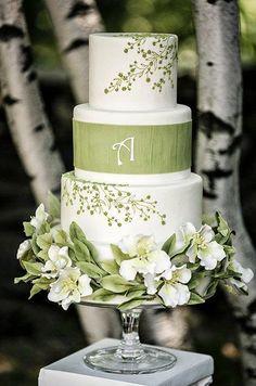 sage green wedding cake
