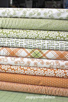 Custom Lucy Crab Shack Green and Orange bundle, 8 Total Fat Quarter bundle,