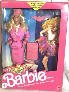 1989 Flight Time Barbie with Wings and Extra Outfit Pilot Doll 9584 #Mattel #DollswithClothingAccessories