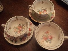 "Mixed Lot Vtg ""Mad Hatter Tea Party"" Set Assorted Cup & Saucer ENGLISH CHINTZ"
