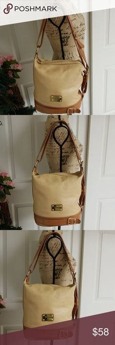Valentina Bag Stunning tan and brown Valentina bag. Very good condition. Minimal wear in the bottom of bag. Please check last picture. Two compartments with zippers.  One big pocket with zipper in  back compartment.   Two open pockets in front compartment.  One back pocket on the outside Gold hardware Valentina Bags