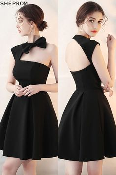 Little Black ,Homecoming Dress with Cute Bow Open Back ,party dresses ,dresses,black - Vestidos Trendy Dresses, Cute Dresses, Beautiful Dresses, Short Dresses, Fashion Dresses, Dresses For Work, Formal Dresses, Dresses Dresses, Mini Dresses