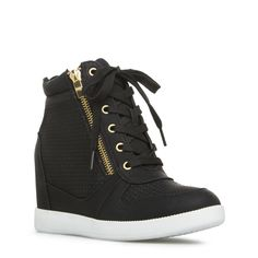 Look street style cool this summer in Elisa. Wedge sneakers are a must-have and this stunner takes the trend up a notch with its perforated details and zipper a