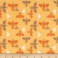 Riley Blake Flower Patch Bees Yellow from @fabricdotcom  Designed by Lori Holt of Bee in my Bonnet for Riley Blake, this cotton print is perfect for quilting, apparel and home decor accents.  Colors include white, yellow, orange and brown.