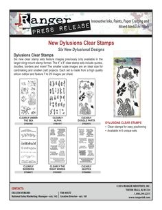 New product releases from Ranger Ink for September 2014. New Distress Stain Spray Inks, Dylusions Wood and Cling Mount Stamps, Wendy Vecchi Embossing Powders, and embossing paste Texture Tools.