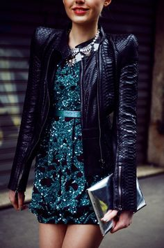 Wear a leather jacket over your sequin dress for a layer of warmth