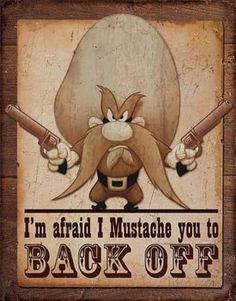 Yosemite Sam - Back Off Distressed Retro Vintage Tin Sign Tin Sign at AllPosters.com