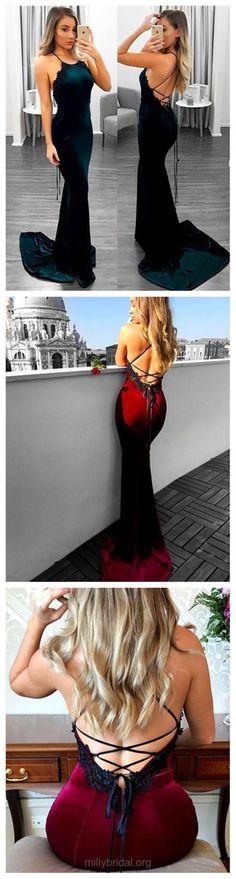 Long Prom Dresses, 2018 Prom Dresses Lace, Trumpet/Mermaid Prom Dresses For Teens, Halter Prom Dresses Velvet, Sexy Prom Dresses Appliques #longdresses