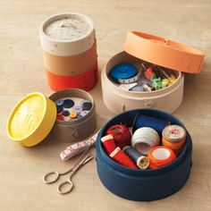 DIY sewing basket. You might be surprised to realize that your DIY sewing basket is hiding on your kitchen shelf! The same bamboo baskets you use to steam fish and vegetables can become chic color-blocked storage containers with a bright coat of paint.