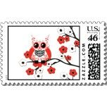 US 'Red White Cherry Blossom Owl' Postage Stamp