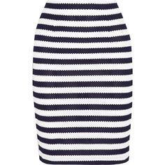 Diane von Furstenberg Walda striped knitted cotton pencil skirt (€175) ❤ liked on Polyvore featuring skirts, bottoms, faldas, hameet, pencil skirt, white skirt, white pencil skirt, white knee length skirt and stripe skirts