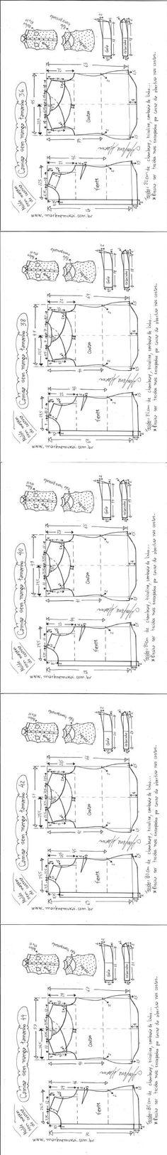 Camisa sem manga e colarinho | DIY - molde, corte e costura - Marlene Mukai