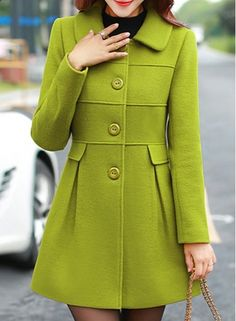 Ladylike Womens Detachable Faux Fur Turn-Down Collar Candy Color Long Sleeve Coat