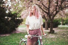 Girl with a pink hair on the bike in the blossoming park - Buy this stock photo and explore similar images at Adobe Stock Colour Pallete, Pantone, Pink Hair, New York Fashion, Adobe, Palette, Stock Photos, Park, Image