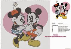 disney_mickey_mouse_and_minnie_with_pink_heart_cross_stitch_baby_blanket_idea.jpg 1,600×1,121 pixels