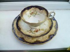 Lovely Vintage Hammersley China Trio Tea Cup Saucer Plate Cobalt Blue 13503 by anna papakoutsi