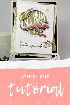 Full step by step card making tutorial on how to make this stunning card with Uniquely Creative Stamp & Colour release. Australian Themed Card Making Ideas Aussie Cards Greetings from Australia Cards Card Making Tutorials Acetate Cards, Step Cards, Handmade Tags, Card Making Tutorials, Creative Cards, Kangaroo, Cross Stitch, Ikea Hacks, Stamping