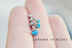 Opal Cartilage Piercing Stud Body Piercing by BodyJewelryEnvy