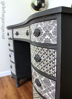 Best DIY Projects: Themed Furniture Makeover Day {decoupage}. See how I transformed a vintage desk with Chalk Paint, pretty paper, and Mod Podge!