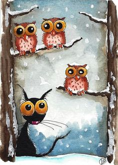 Stressie Cat Painting - Three Owls And A Cat by Lucia Stewart
