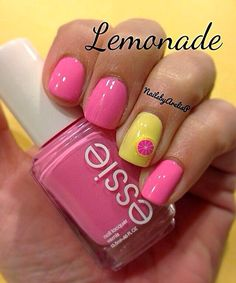 Lemon | Pink & Yellow | Nail Art