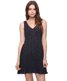 Forever 21 Confetti Bow Dress in Navy