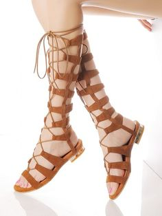 1892d2b5bab Brown Suede Knee High Lace-up Gladiator Sandals