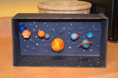 Shoe Box Crafts for Kids - A girl and a glue gun Solar System diorama- I'm thinking of having my kids do an out of class planet project like this. So fun! Solar System Projects For Kids, Solar System Activities, Solar System Model, Solar System Crafts, Solar System Planets, Space Activities, Space Projects, Science Projects, School Projects