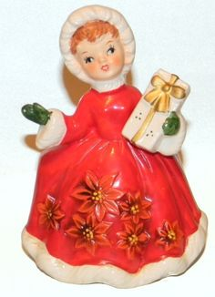 Shop Closing Sale- LEFTON Christmas Ceramic Poinsetta Girl Lady With Gift Planter Figurine. $49.99, via Etsy.