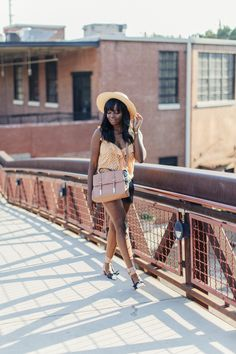 Peach & Black Summer Outfit: Free People top, ASOS bag, ZARA shorts, Topshop hat, Dior shoes | MILLENNIELLE
