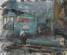 DANIEL PITIN Morning train, 2012 Oil, acrylic, candle smoke and paper glued on canvas 25 × 30 in 64 × 78 cm Matte Painting, Sketch Painting, Urban Landscape, Landscape Art, Collage, Green Art, Colorful Drawings, Art Blog, Cool Art