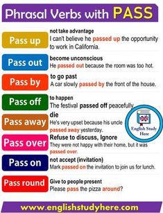 English Grammar ©: Phrasal Verbs with 'Pass' English Sentences, Learn English Grammar, English Writing Skills, English Idioms, English Phrases, Learn English Words, English Study, English Lessons, English English