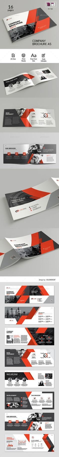 A5 Landscape Brochure — InDesign INDD #company #landscape • Download ➝ https://graphicriver.net/item/a5-landscape-brochure/20370656?ref=pxcr