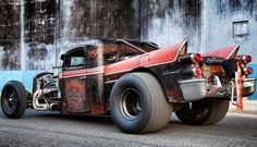 How can I possibly like a rat rod? Well, this guy included '50s Coronet tail fins and a 'chute. I'm hooked.