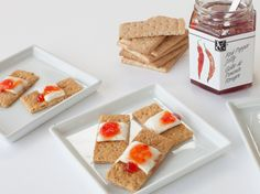 "Band-Aids: This recipe is both delicious and delightfully disturbing! Snap graham crackers in half, smear on some cream cheese, and add a dollop of Red Pepper Jelly on top for the ""eww"" factor. Healthy Halloween, Halloween Treats, Red Pepper Jelly, Epicure Recipes, Daycare Ideas, Yummy Eats, Healthy Alternatives, Graham Crackers, Stuffed Peppers"