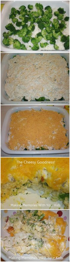 "Chicken Broccoli Casserole Ingredients: 3-4 cups cooked rice 4 cups cooked broccoli cut into ""chunks"" 1 cup sour cream 1/2 cup mayonnaise 1 Tbsp. lemon juice 1 10 ounce can of cream of chicken soup…"