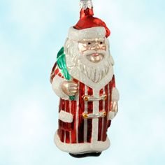 Patricia Breen used a chocolate mold to make this classic 1995 collectible hand blown glass striped Santa ornament