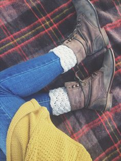 these boots! Loving the combination - mustard cardi/knit, jeans, cute socks and cool boots
